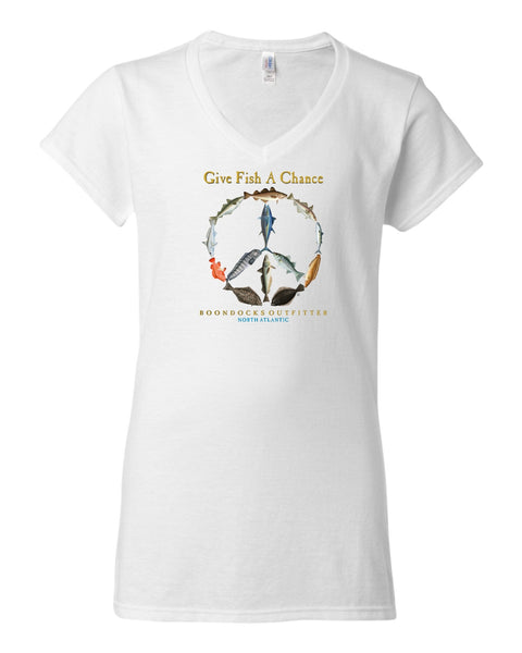 GIVE FISH A CHANCE • NORTH ATLANTIC - Ladies V-NECK