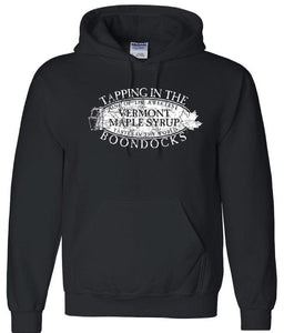 TAPPING IN THE BOONDOCKS Distressed logo Pullover Hooded Sweatshirt