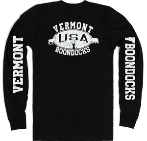 Boondocks Long Sleeve T-Shirt • VERMONT Distressed Print Deer, Moose, Bear Logo With Sleeve Prints