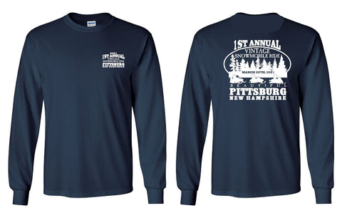 First Annual Vintage Snowmobile Ride • Pittsburg, NH • Long Sleeve tee, Navy Blue