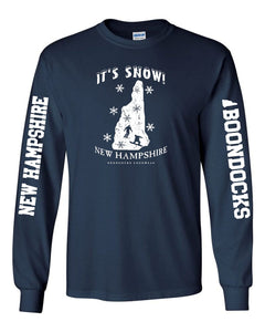 IT'S SNOW! NH • WITH SKIER & SNOWBOARDER Long Sleeve T-Shirt • With Sleeve Prints