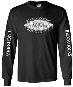 WOODCHUCK IN THE BOONDOCKS Distressed Logo-CREW NECK SWEATSHIRTS with sleeve print