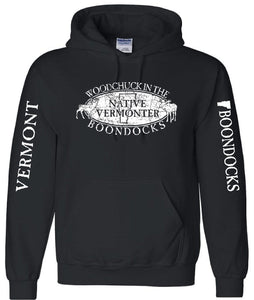 WOODCHUCK IN THE BOONDOCKS Distressed logo Pullover Hooded Sweatshirt