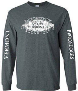 WOODCHUCK IN THE BOONDOCKS Distressed logo Long Sleeve T-SHIRT with sleeve print