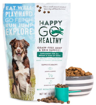 Happy Go Healthy Dog Supplement - image of bag and meal topper with measuring cup