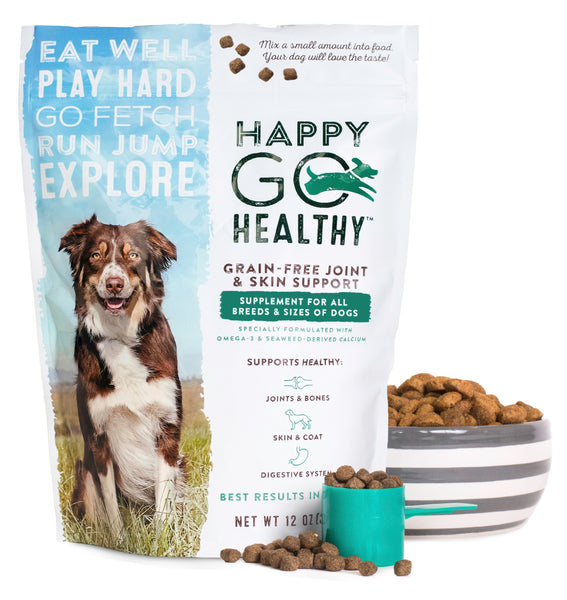 Happy Go Healthy Joint & Skin Supplement for Dogs - Bag of pebbles and measuring cup