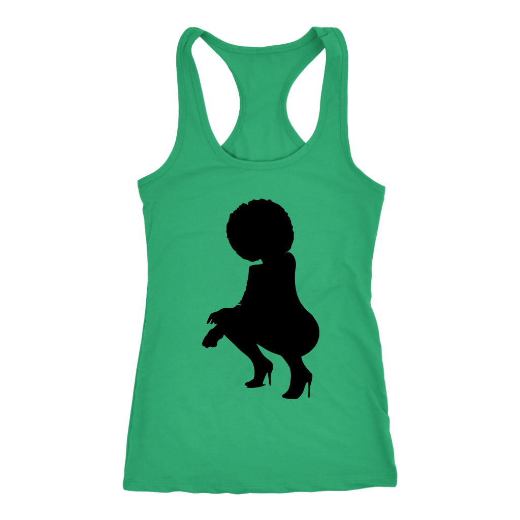 Black Power Woman Squatting Racerback Tank Tops