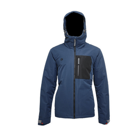 turbine blue mens snow jacket with black left chest pocket with zipper