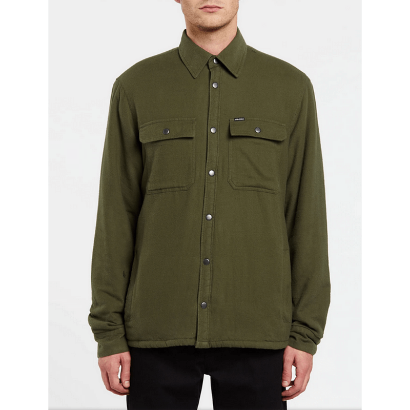 mens military green jacket with double flap pockits on front volcom