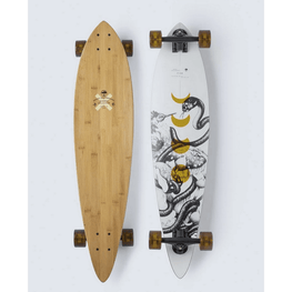 arbor bamboo top and white with graphic bottom longboard