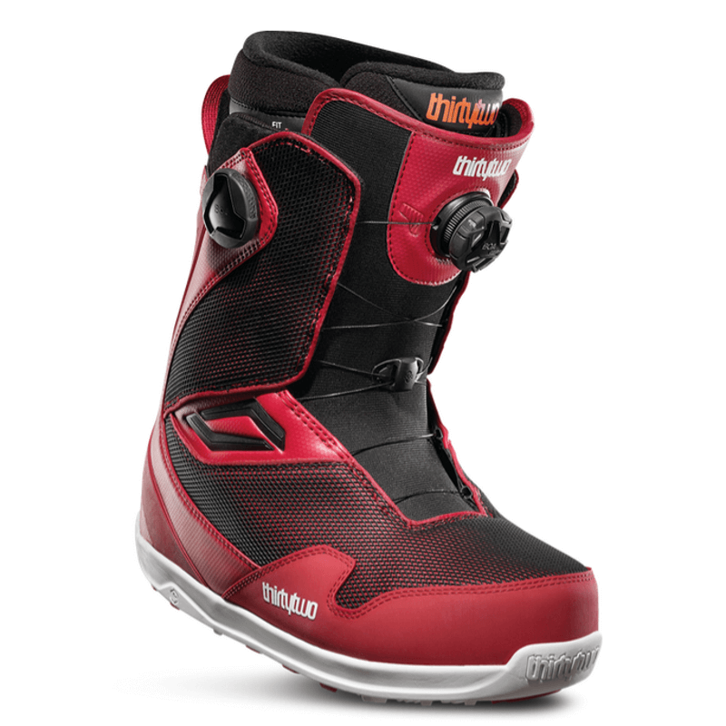 32 mens red double boa snowboard boot