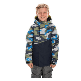 686 boy insulated snowboard jacket camo print