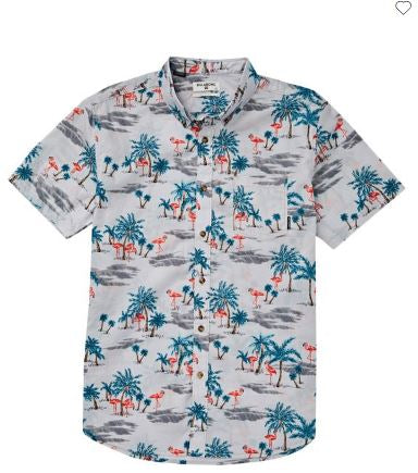 Billabong Sundays Floral Short Sleeve Mens Grey Shirt