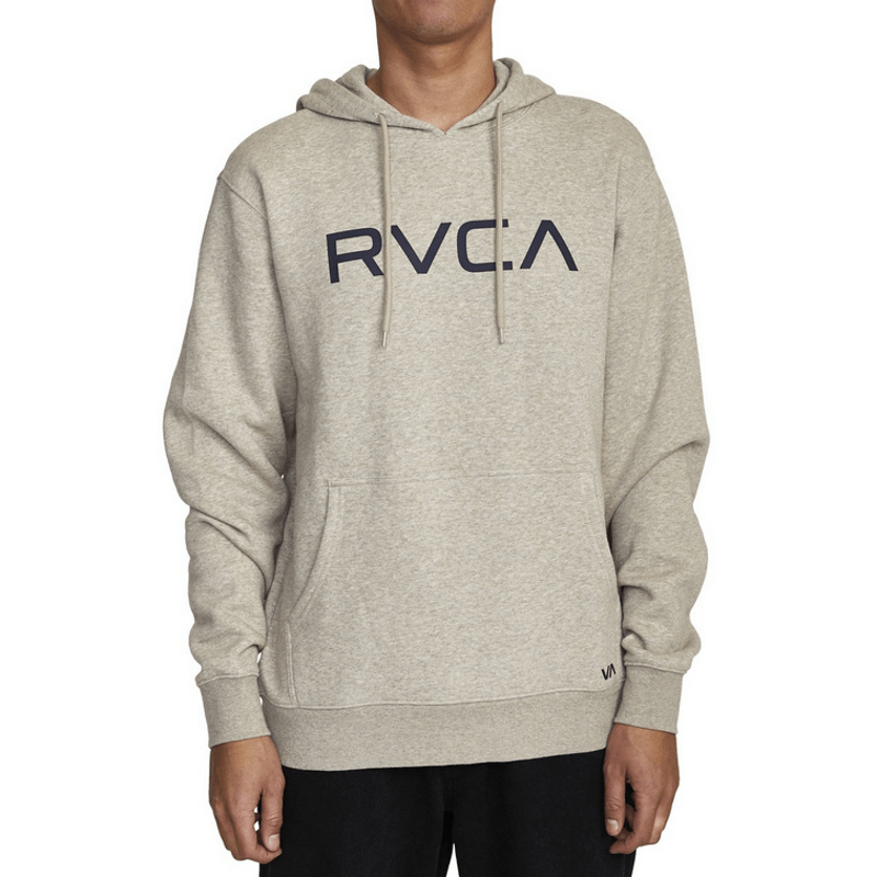 rvca mens khaki pullover sweater hoodie with logo at chest