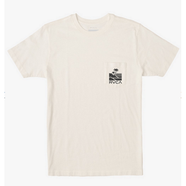 rvca white mens pocket tee with logo and palm print on pocket left chest