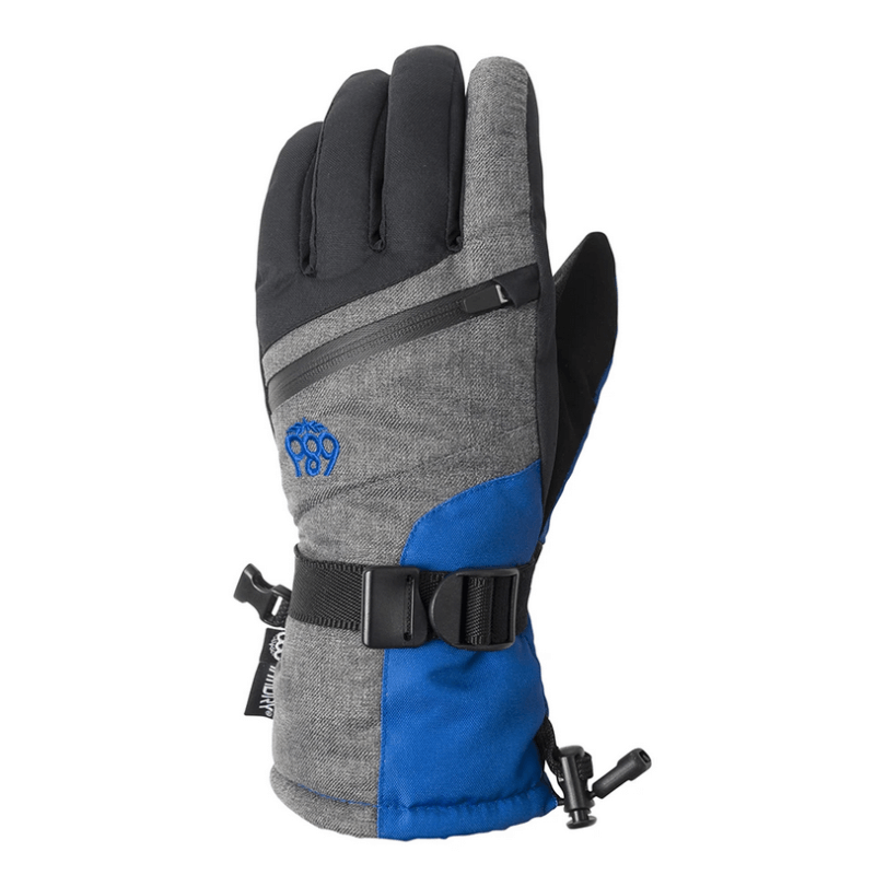 686 kids blue and grey snow gloves