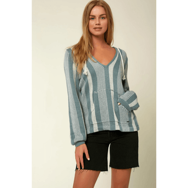 o'neill womens blue stripe pullover sweater