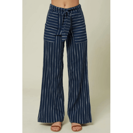 oneill womens wide leg blue with white stripes pant