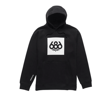 black mens 686 pullover sweatshirt with white logo on front