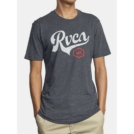 rvca hove run mens black tee with large logo on front