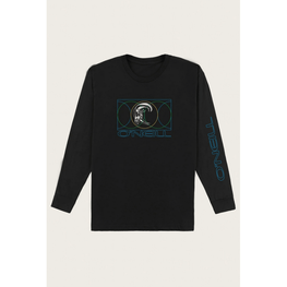 o'neill mens black long sleeve tee with graphic on front  and down left sleeve