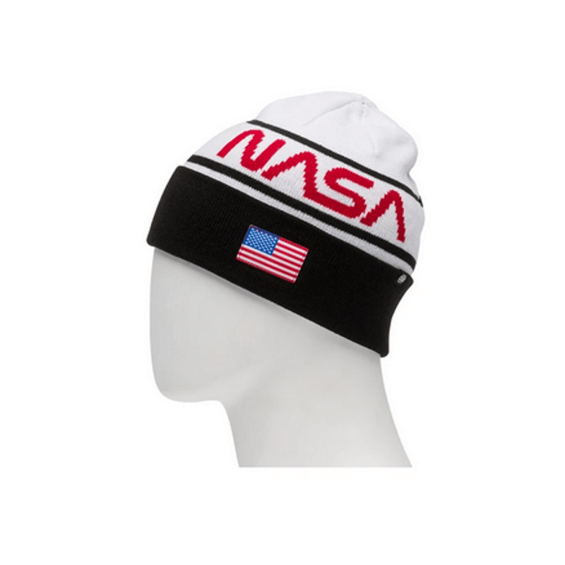 686 nasa beanie white top with red nasa and black with usa flag patch