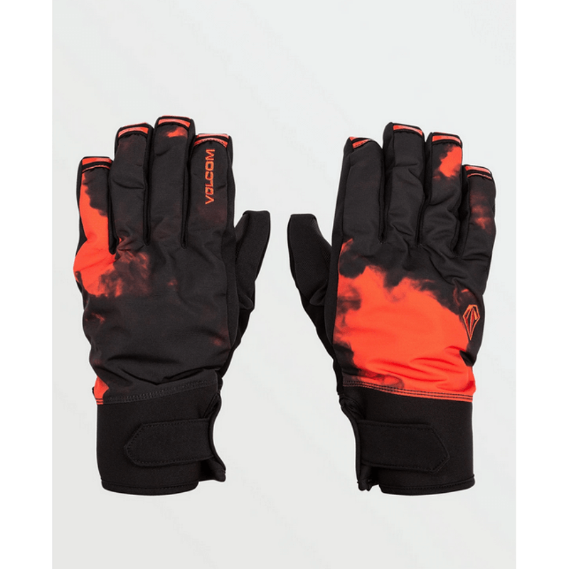 volcom mens red and black snow glove
