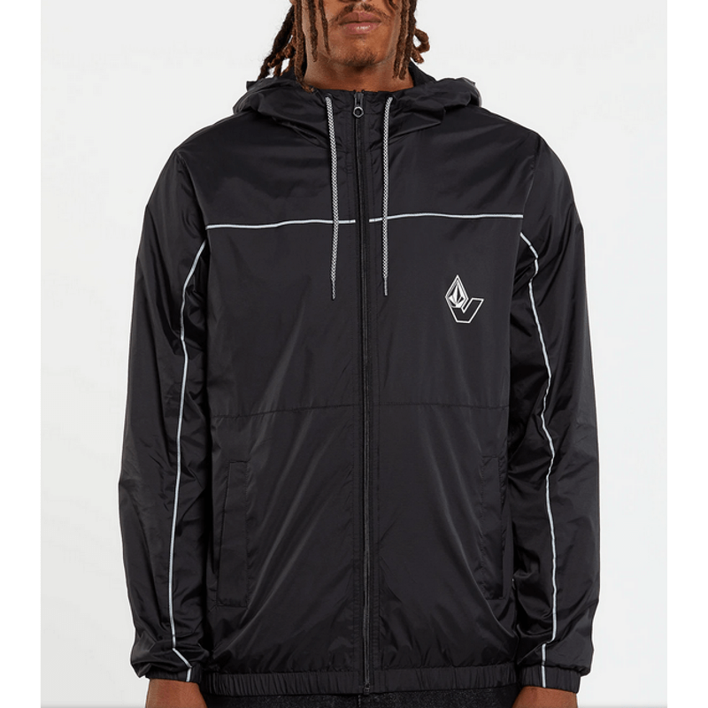 volcom black mens windbreaker with v logo on left chest