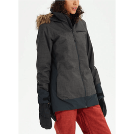 burton womens lelah heather black and black snow jacket