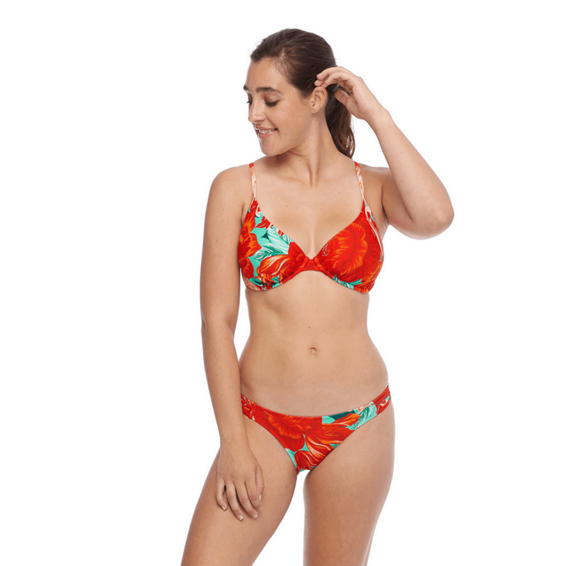 body glove red print underwire women swim top