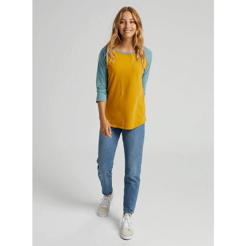 burton womens raglan tee gold and teal