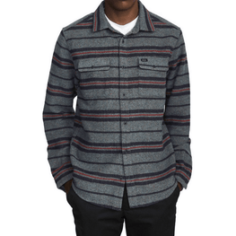 mens long sleeve rvca flannel stripe shirt