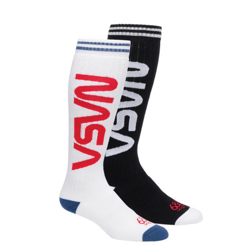 686 nasa 2-pairpackage sock one black one white