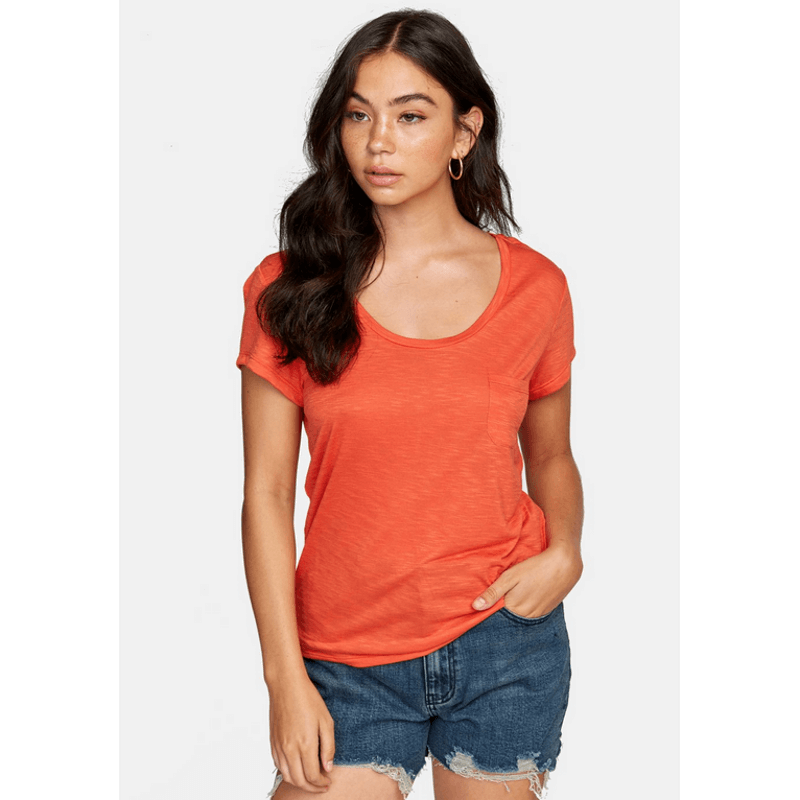 rvca orange pocket scoop neck womens tee