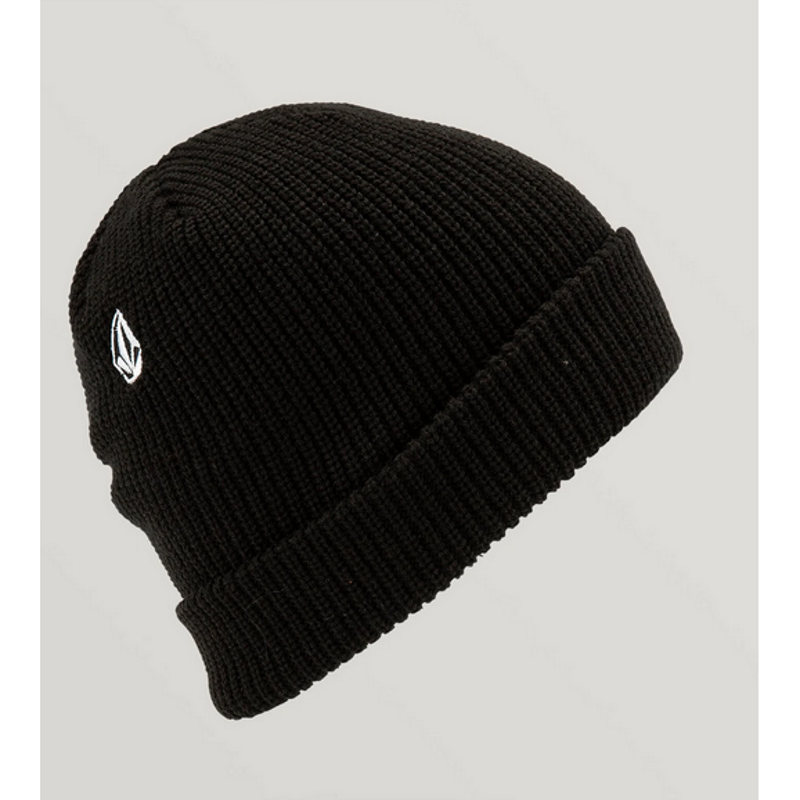 volcom full stone beanie with stone logo and cuff