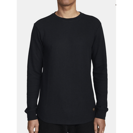 rvca mens black thermal long sleeve shirt