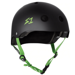 s one helmet matte black with green straps and logo