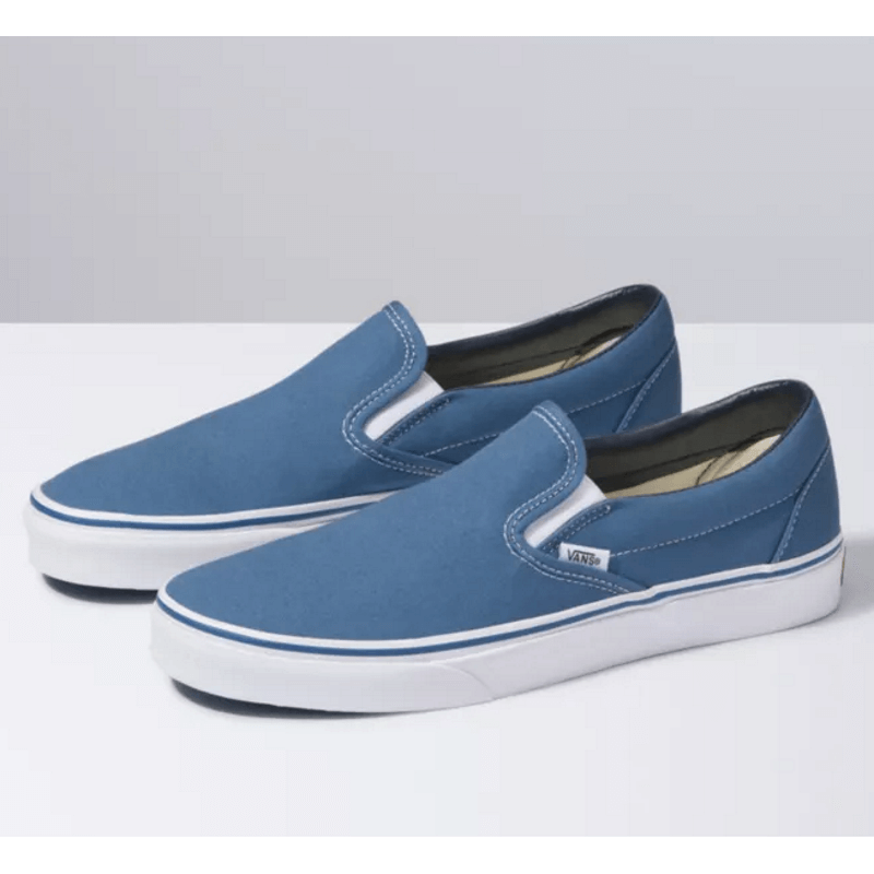 navy and white classic vans slip on shoe