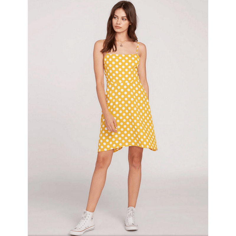 volcom yellow and white wummer dress