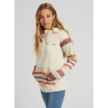 burton womens oak stripe fleece hoodie full zip