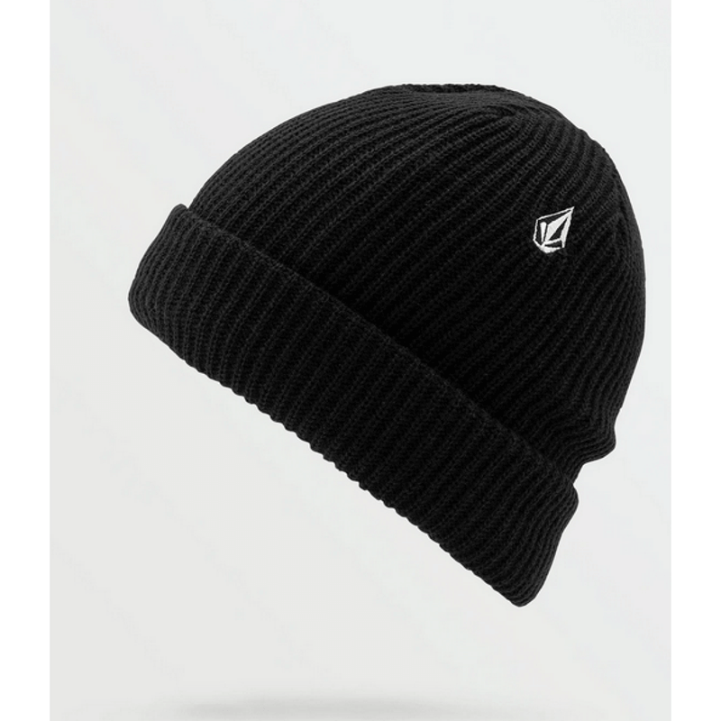 volcom black lined beanie with stone embrodery