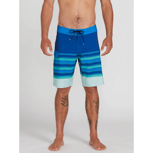 volcom blue stripe swim trunks