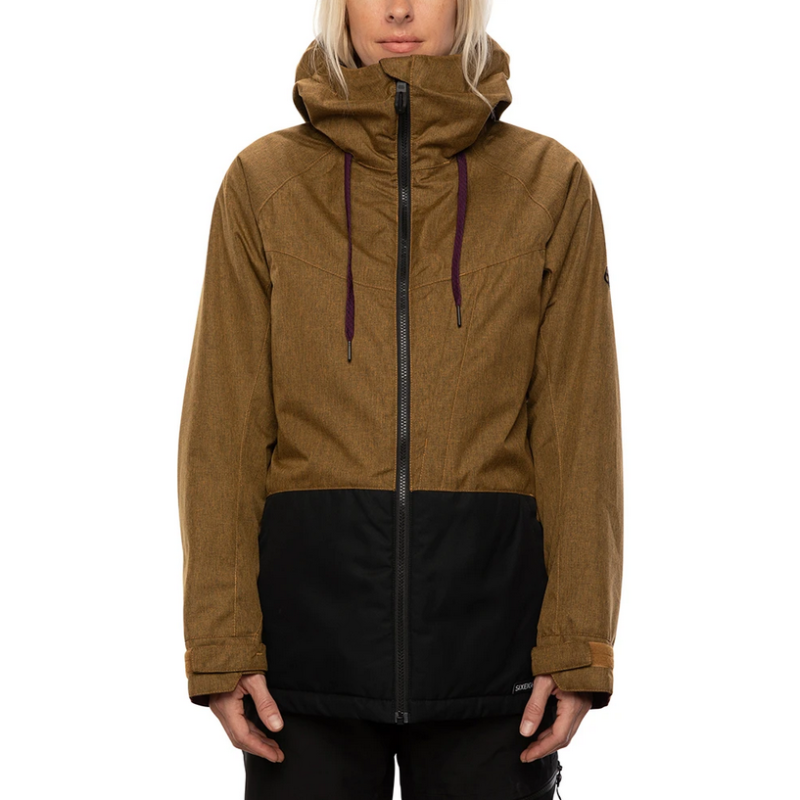 686 athena golden brown snow jacket womens