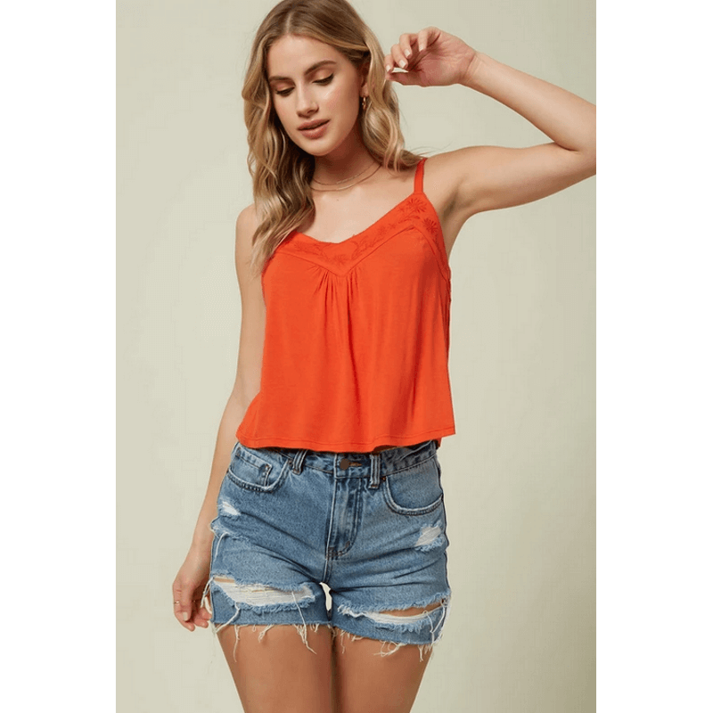 oneill womens red tank with Embroidery at front neckline
