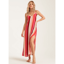 billabong womens stripe red dress maxi