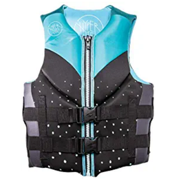 hyperlite womens aqua and black water vest with dots