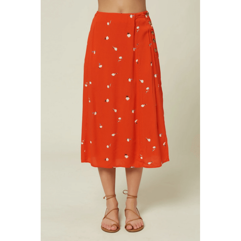 oniell womens clay red print skirt