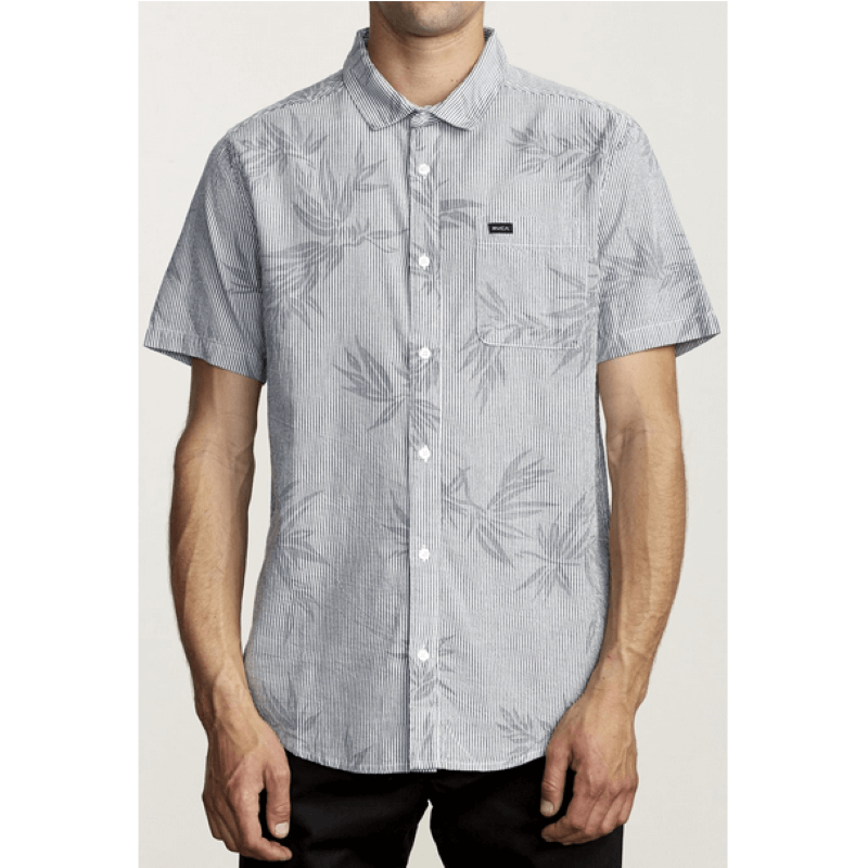 RVCA Richmond Mens White Moody Blue Button Up Shirt