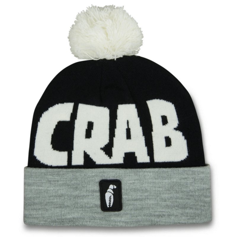 Crab Grab Pom Black & Grey Beanie