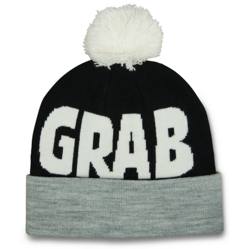 Crab Grab Pom Black Beanie